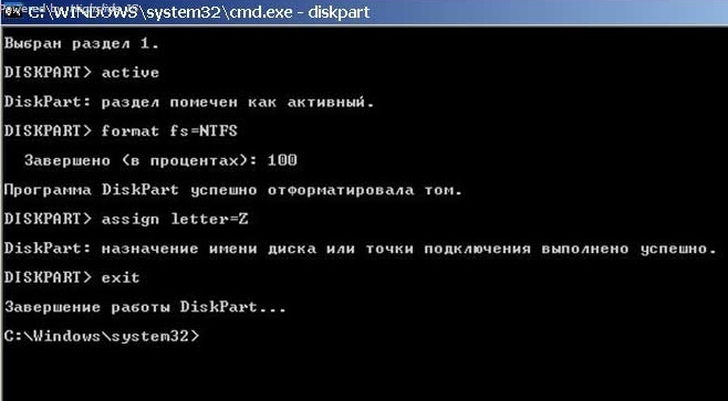 Результаты работы DiskPart