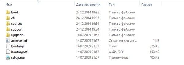 Установочные файлы Windows 7