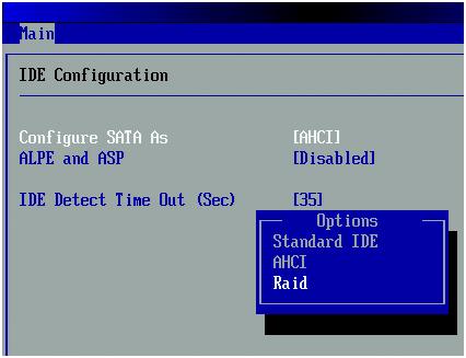 Установка параметра SATA