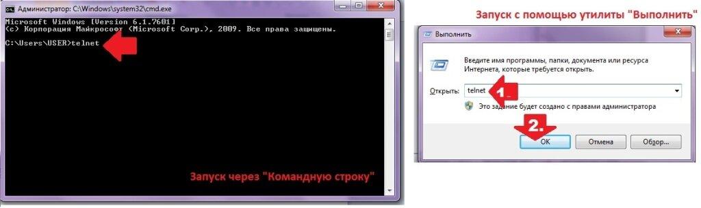 """Запуск telnet через командую строку и через """"Выполнить"""""""