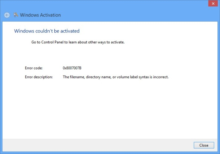 Windows Activation - ошибка 0x8007007b