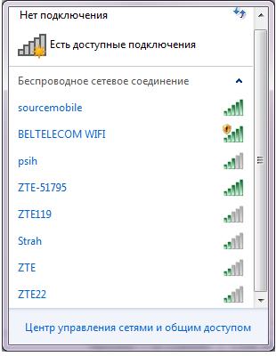 Список доступных сетей Wi-Fi
