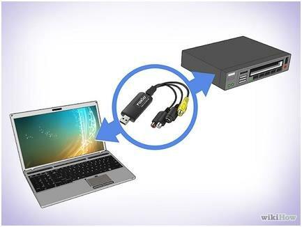 Подключение адаптера к видеомагнитофону и компьютеру