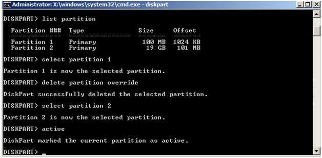 Использование diskpart