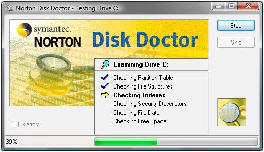 Программа Norton Disk Doctor