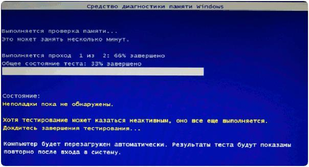 Процесс проверки памяти Windows