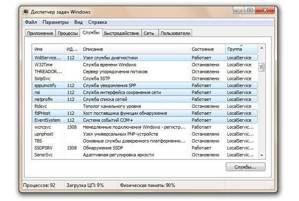 Выделенные службы, использующие svchost.exe