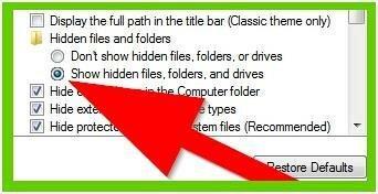 """Переключатель """"Показывать скрытые файлы, папки и диски"""""""