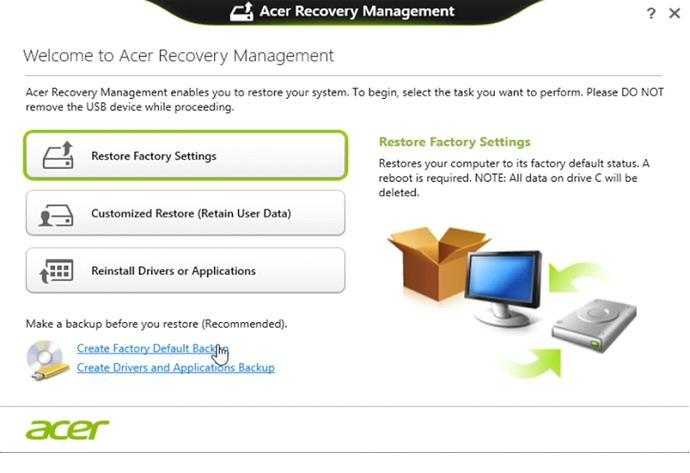 Утилита Acer eRecovery Management