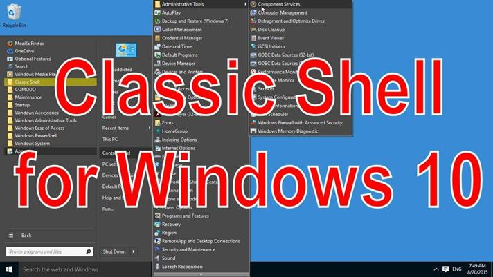 Утилита Classic Shell for Windows 10