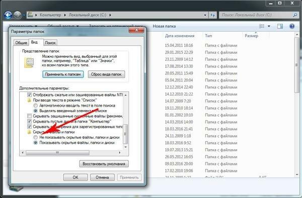 Установить отметку на строчке «Показывать скрытые файлы, папки и диски»