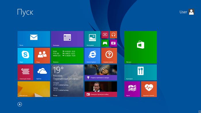 Начальный экран Windows 8.1