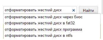 """Пример ввода запроса """"отформатировать жесткий диск"""""""
