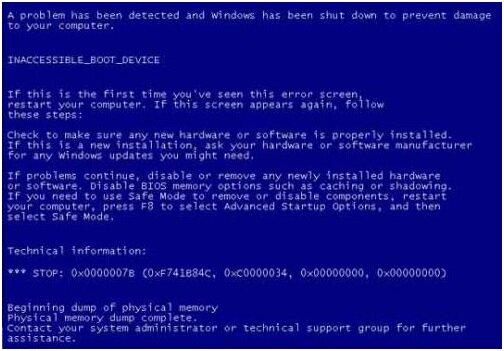 BSOD с кодом ошибки 0x0000007B