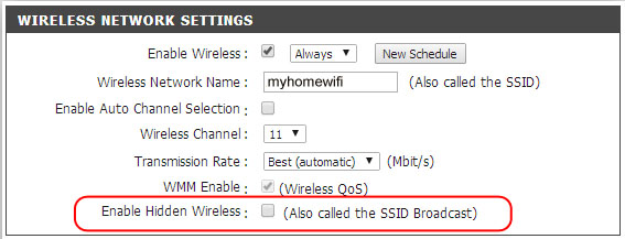 Enable Hidden Wireless