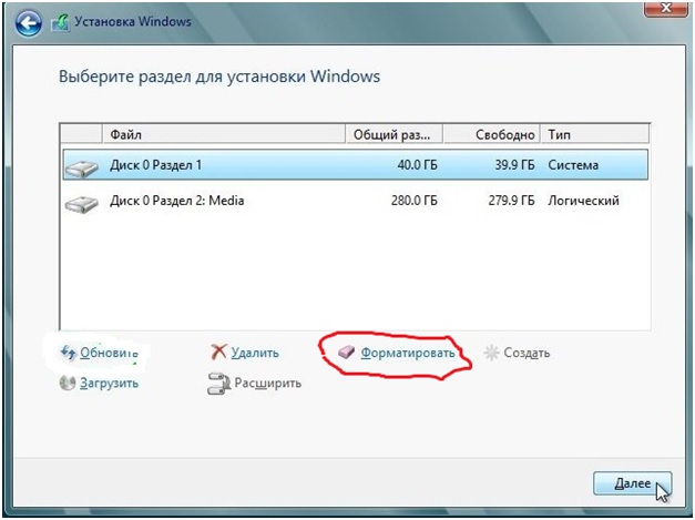 Разделы установки Windows