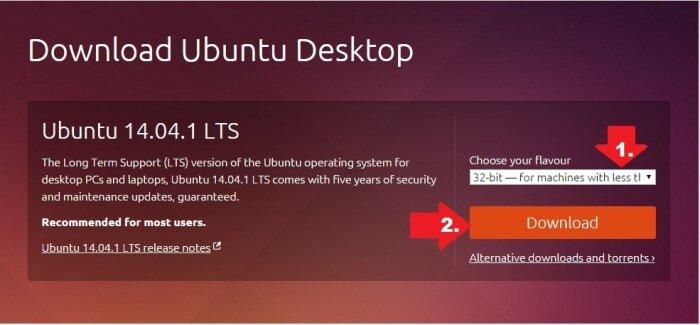 Загрузка Ubuntu с официального сайта