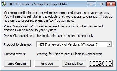 .NET Framework Setup Cleanup Utility