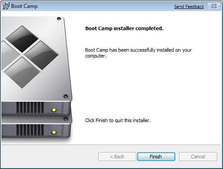 Завершение установки Boot Camp