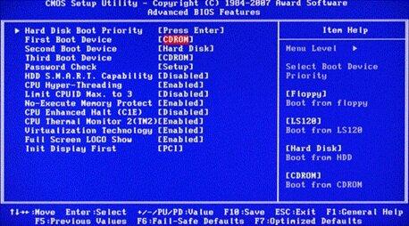 Выбор загрузочного диска