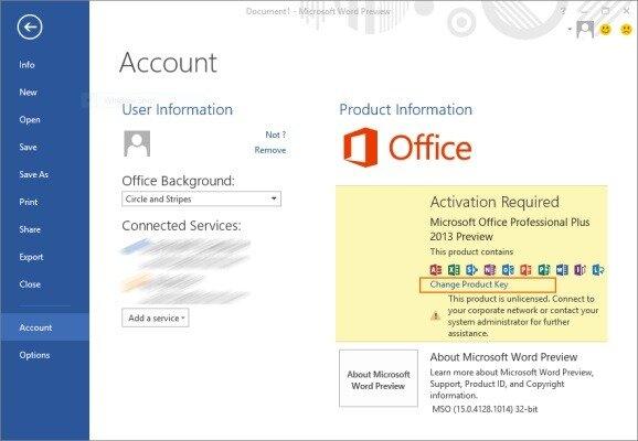 Окно программы MS Office 2013