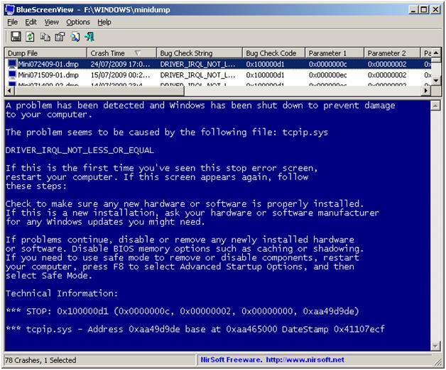 Программа BlueScreenView