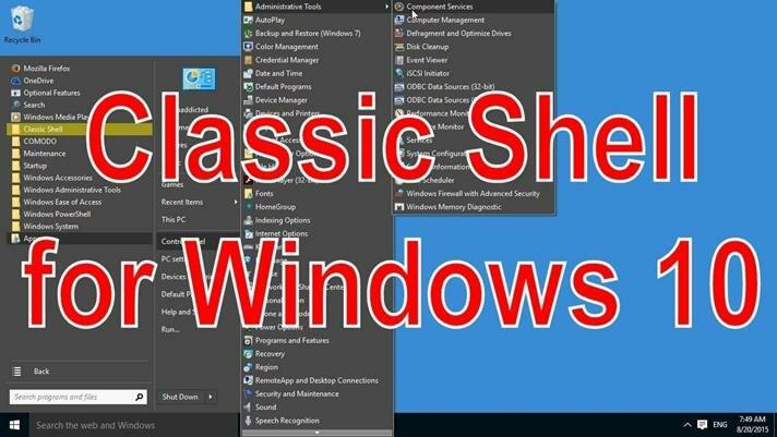 Утилита Classic Shell for Windows 10