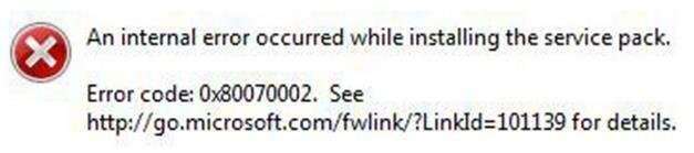0070002 ошибка обновления Windows 7